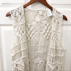 Boho off white H&M crochet long fringe size Small